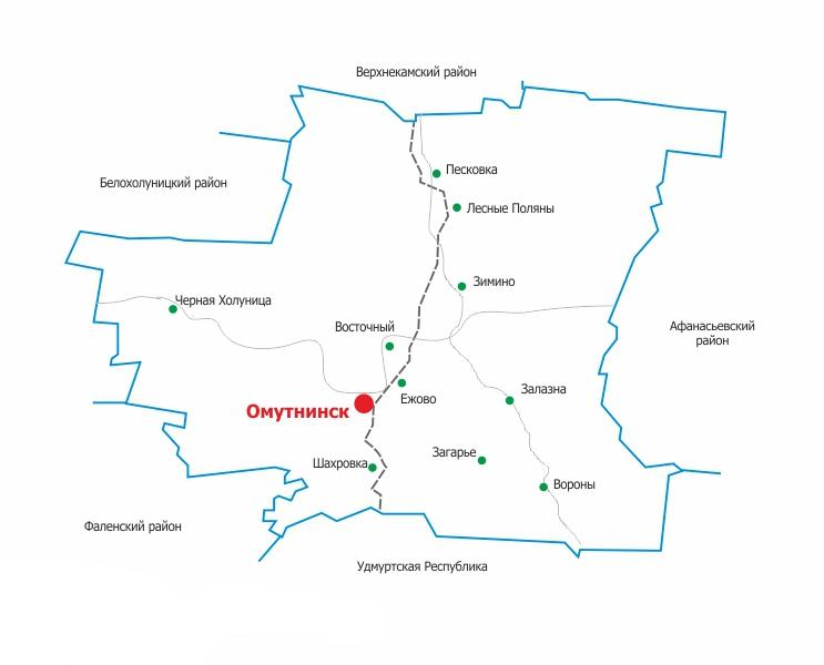 Карта Омутнинска и Омутнинского района Кировской области